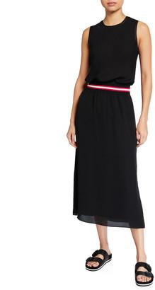 Theory Lewie Silk Dress with Striped Waistband