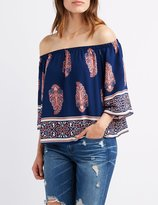 Charlotte Russe Printed Off-The-Shoulder Top
