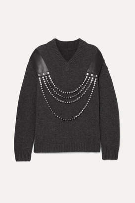 Christopher Kane Oversized Embellished Leather-trimmed Wool Sweater - Gray