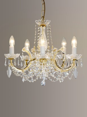 Theresa Impex Marie Chandelier, 5 Arm, Clear/Gold