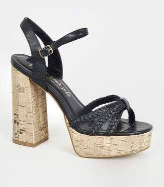 New Look Wide Fit Woven Strap Cork Heels