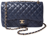 Chanel Vintage Blue Quilted Lambskin Classic Flap Jumbo