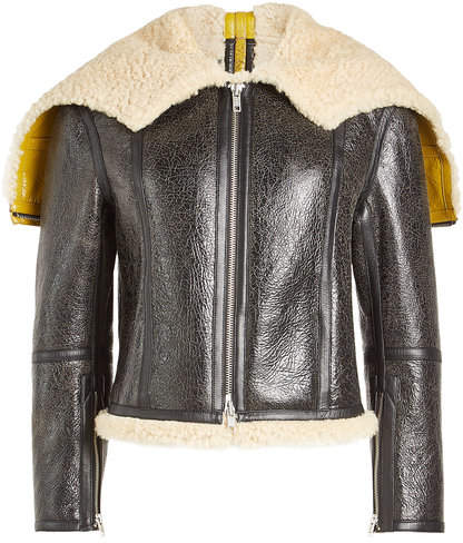 Calvin Klein Leather Jacket with Shearling