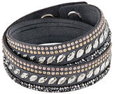 Swarovski Slake Pulse Grey Crystal-Accented Leather Wrap Bracelet