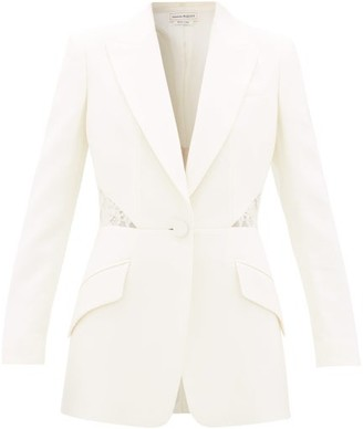 Alexander McQueen Lace-inset Single-breasted Wool-blend Crepe Jacket - Womens - Ivory