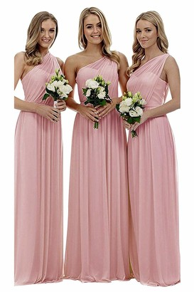Solovedress Women's One Shoulder Bridesmaid Dress Chiffon Prom Evening Gowns Long (Turquoise UK14)
