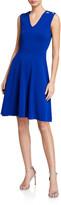 Milly V-Neck Peek-A-Boo Shoulder Fit-&-Flare Dress