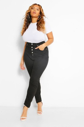 boohoo Plus Button Highwaisted Shaper Skinny Jean