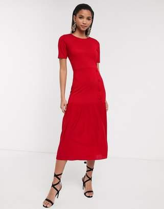 Asos Design DESIGN dropped waist midi dress with pleated hem-Red
