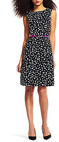 Adrianna Papell Polka Dot Boat Neck Cap Sleeve Fit-and-Flare Dress