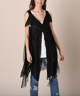 Pretty Angel Women's Open Cardigans BLACK - Black Fringe-Hem Silk-Blend Open Cardigan - Women