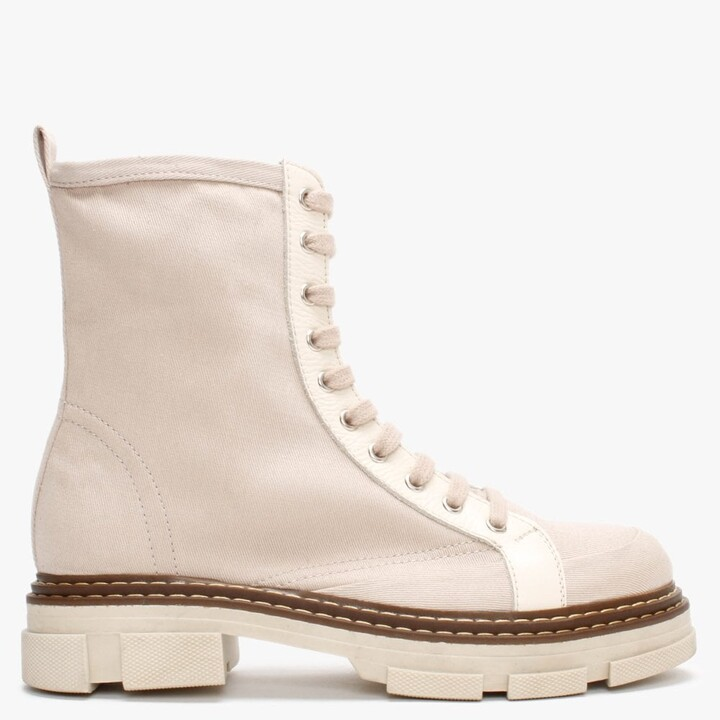 Daniel Banvas Beige Canvas Stomper Boots