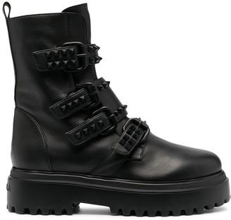 Le Silla Stud-Embellished Buckled Boots