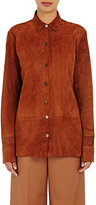 Helmut Lang Women's Suede Button-Front Shirt-DARK BROWN