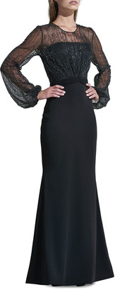 Rene Ruiz Collection Beaded Yoke Long-Sleeve Illusion Gown