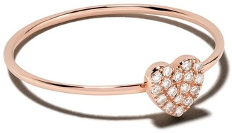 Ef Collection 14kt Rose Gold Mini Diamond Heart Stack Ring