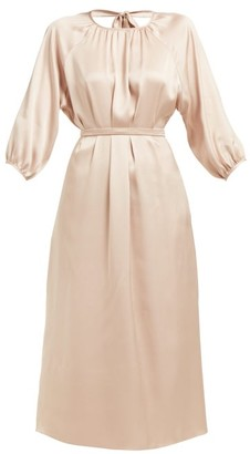 Rochas Olympic Open-back Silk-satin Midi Dress - Womens - Nude