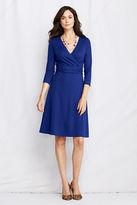 Lands' End Women's Petite 3/4-sleeve Ponté Half Band Wrap Dress