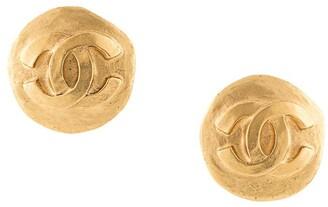 Chanel Pre Owned 1995 CC button earrings