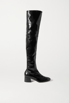 KHAITE Sedona Crinkled Patent-leather Over-the-knee Boots - Black