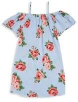 Pinc Premium Girl's Floral-Print Cold-Shoulder Shift Dress