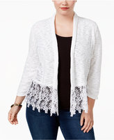 INC International Concepts Plus Size Lace-Trim Cardigan, Created for Macy's