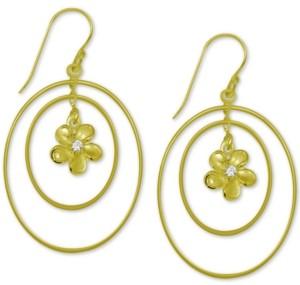 Kona Bay Flower & Double Orbital Drop Earrings in Gold-Plate