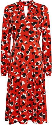 Wallis Red Heart Print Midi Dress