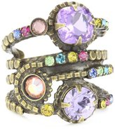 "Sorrelli Harmony"" Stacked Circular Crystal Antique Gold-Tone Adjustable Ring"