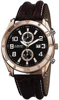 August Steiner Men's AS8117RG Swiss Quartz Multifunction Black & Rose-tone Dial Brown Leather Strap Watch