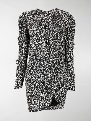 Etoile Isabel Marant Draped Sleeve Animal Print Dress