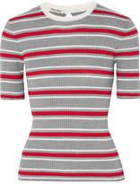 Miu Miu Striped Ribbed Wool Sweater - Gray