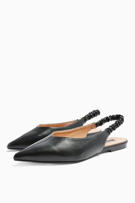 Topshop WIDE FIT APPLE Black Ruched Slingback Shoes