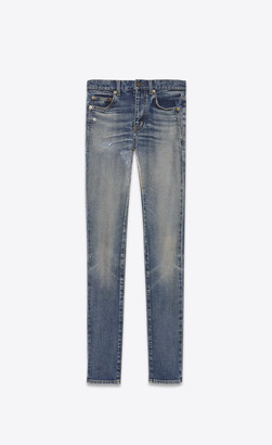 Saint Laurent Skinny Fit Jeans Mid-rise Skinny Jeans In Faded Blue Denim Dirty 90's Vintage Blue 26