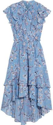 Walter Baker Jayda Pussy-bow Ruffled Floral-print Chiffon Midi Dress