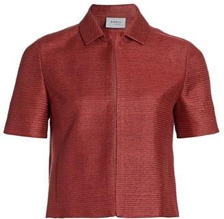 Akris Punto Short-Sleeve Silk Jacket