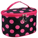 DZT1968® Handle Round Dot Large Cosmetic Bag Travel Makeup Organizer Case Holder With Mirror (Hot Pink)