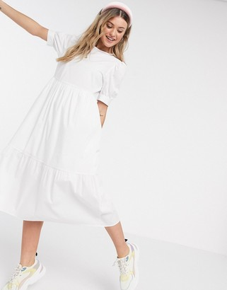 New Look midi poplin smock dress in white