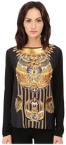 Versace Long Sleeve Printed Boat Neck Shirt Women's T Shirt