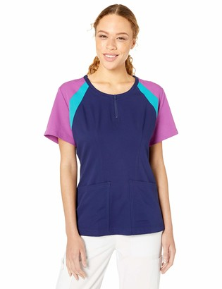 Landau Urbane Ultimate Color Block Zipper Scrub Top for Women
