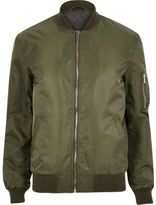 River Island MensKhaki padded MA1 bomber jacket