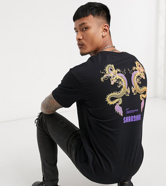 Jack and Jones Originals oversize t-shirt with Shanghai back print in black Exclusive at ASOS
