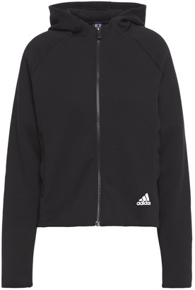 adidas Jacquard-trimmed Cotton-blend Jersey Hoodie