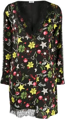 Liu Jo V-neck scalloped lace shift dress