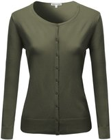 Made by Emma Basic Classic Round Neck Button Up High Quality Cardigan Green M