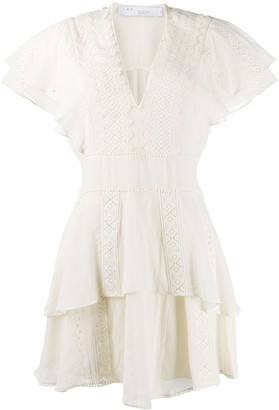IRO Embroidered Ruffled Dress