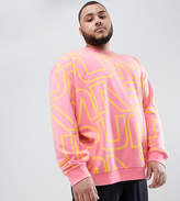 Puma Plus Crew Neck Sweatshirt With All Over Print In Pink Exclusive To Asos
