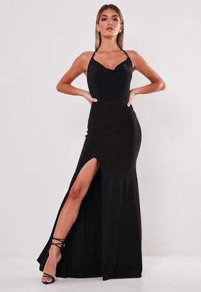 Missguided Slinky Cowl Neck Split Detail Maxi Dress