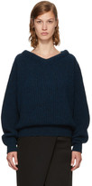Lemaire Navy Wool V-neck Sweater