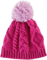 San Diego Hat Company Hot Pink Cable-Knit Pom-Pom Beanie